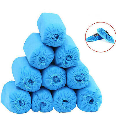 50Pair Disposable Plastic Blue Waterproof Shoe Covers Cleaning Overshoes Durable