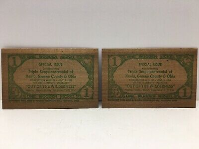Lot of 2 Wooden Nickel Certificates Triple Sesquicentennial Greene County Ohio