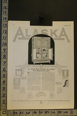 1923 Decor Kitchen House Refrigerator Ice Box Alaska Muskegon Michigan Ad St99