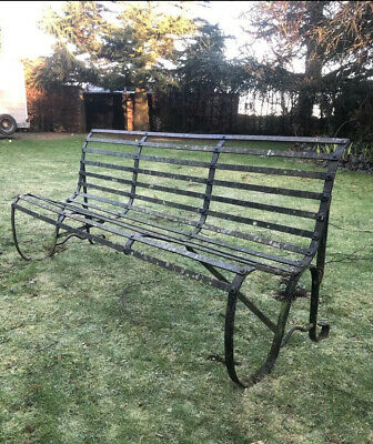 Antique Georgian Strapwork Estate Made Wrought Iron Bench
