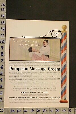 1910'S Beauty Barber Shop Pompeian Massage Cream Soap Shave Hair Cut Ad Sh26