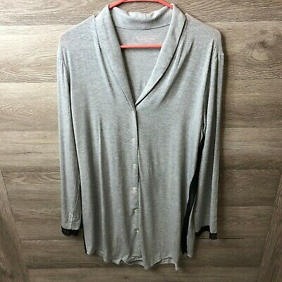 Victorias Secret Womens Medium Grey Sleep Pajama Tunic Top Shirt NWOT