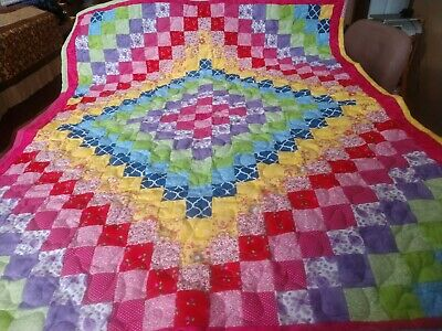 Handmade Pieced Rainbow Multi Boy Girl Baby Lap Crib Quilt Throw Blanket