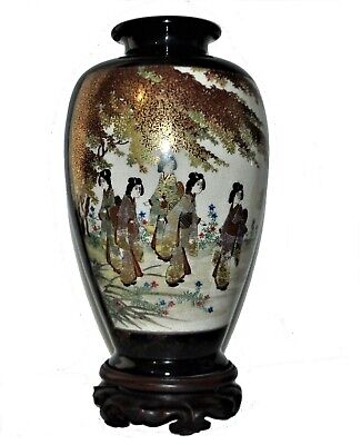 a pair Japanese SATSUMA vases decorated with mirrored scene of ladies, tree...