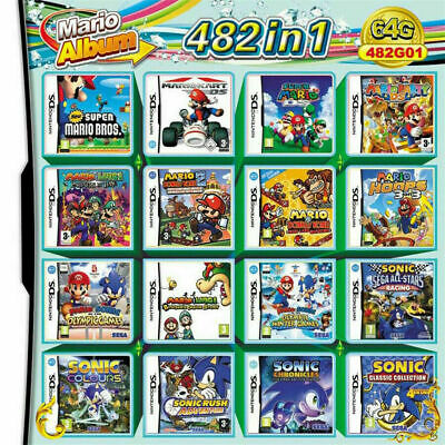 For NDS NDSL 2DS 3DS 3DSLL 482 in 1 Game Video Game Cartridge NDSI Super Mario