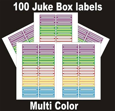 JUKEBOX LABELS blank title Strips (100) , munti color, FREE S&H