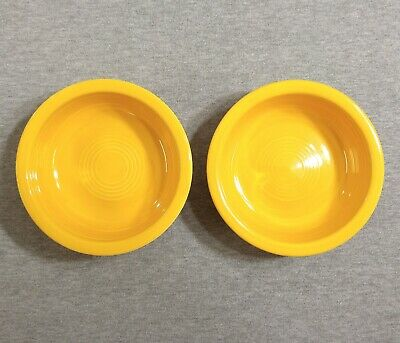 "Lot of 2 Fiesta Vintage Yellow 5 1/2"" Fruit Bowls - Fiestaware"