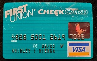 First Union Check Card Visa Credit Card exp 2000♡free ship♡cc1386♡
