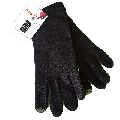 Touch & Go Knit Smart Phone Gloves One Size Black Texting