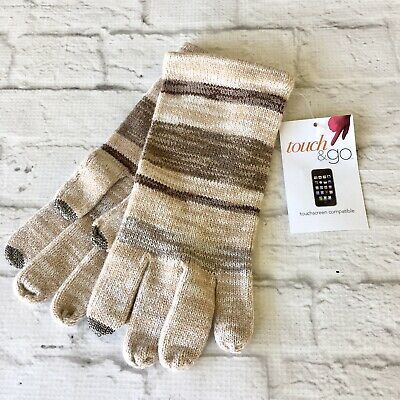 Touch & Go Knit Smart Phone Gloves One Size Neutral Stripes