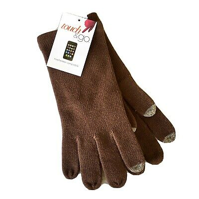 Touch & Go Knit Smart Phone Gloves One Size Brown Texting