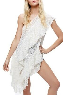Free People Womens Sz Small White Girls Girls Girls One Shoulder Lace Tunic Top