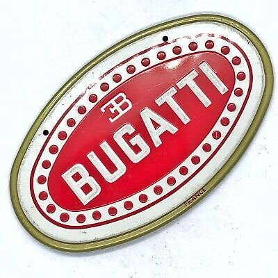 Vintage 1950s WHEATIES CEREAL PRIZE - Bugatti CAR TIN EMBLEM BADGE OLD Man Cave