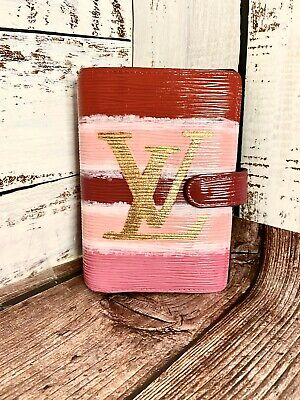 Louis Vuitton Agenda Planner PM Epi Leather Custom Painted Authentic Pink Red