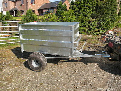 Tipping trailer for use with  ATV Quad bike, compact tractor