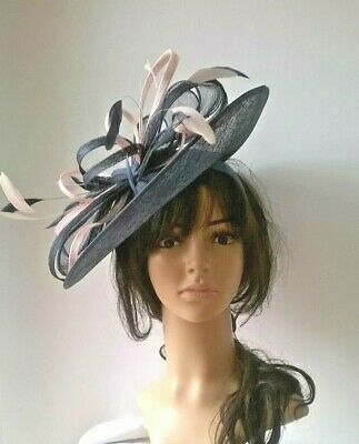 Navy Hatinator & pale pink Sinamay saucer disc Wedding.races.ascot.new .maryjo