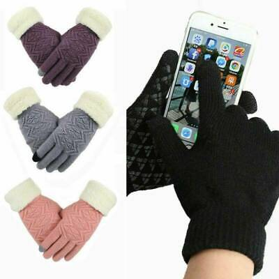 Touch Screen Gloves Women Winter Warm Full Finger Windproof Suede-lined Gloves~
