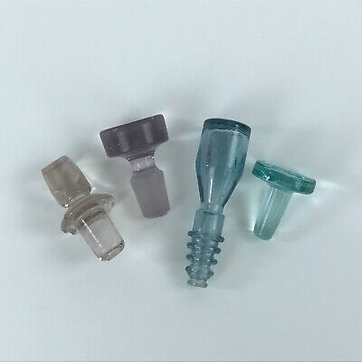 4 Glass Decanter Bottle Stoppers Colored Glass Replacement Toppers Vintage
