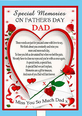Father's Day Memorial Rembrance Bereavement Graveside Keepsake Dad Card & Holder