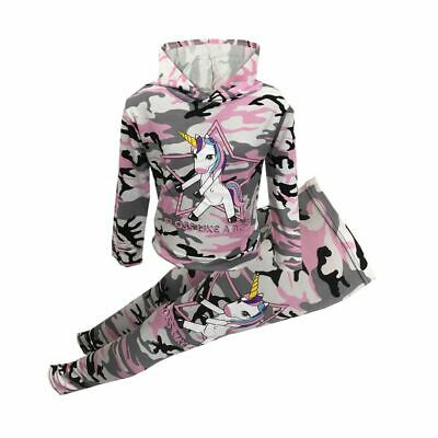 NEW Girls Pink Camo Unicorn Floss Like A Boss Outfit 2 pc Set Tracksuit Age 7-13