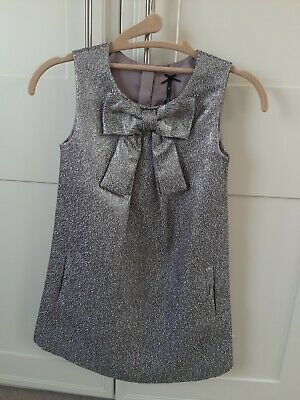 **NEXT** Girls  Silver Tunic Dress. Sparkly With a Bow. Age 8