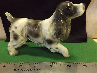 VINTAGE LARGE Darling SPRINGER SPANIEL BLACK & WHITE DOG Figurine Euc