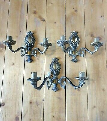 Set of Three Vintage Brass Wall Scones Lights 2 Arm French Gold Antique Style