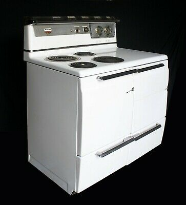 Vintage Antique Old Art Deco Electric Hotpoint Range Stove Oven Porcelain Steel
