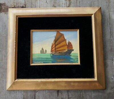 Antique Arts and Crafts Painting of Chinese Junk Boats, Signed