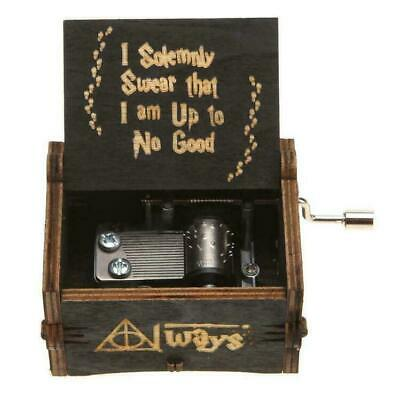 Black Harry Potter Music Box Engraved Hand Wooden Music Box Kid Toy Xmas Gift