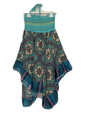 Girls Maxi Dress Age 6 Years Turquoise Blue Strapless Shirred by Kids Star