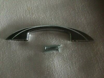 "Chrome Drawer Door Pull Handle Mid Century Large 6"" Vintage Cabinet Art Deco"