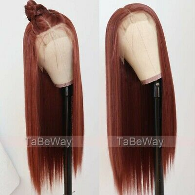 AU 24inch Synthetic fiber 13x3 Lace front wigs  Copper Red Long Straight Women