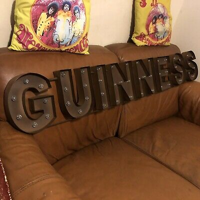 Guinness Large Lighted LED Sign! Irish Beer! Distressed!Bar, Game Room! New!⚡️