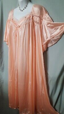 """Comfort Choice Peach Nightgown Short Sleeve Long Length Size Large 52"""" Bust"""