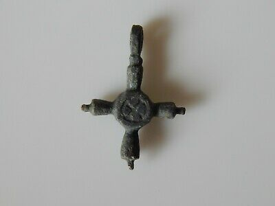 Wearable #131 Perfect Ancient Bronze Pendant Cross Viking AGE c.10-11 AD