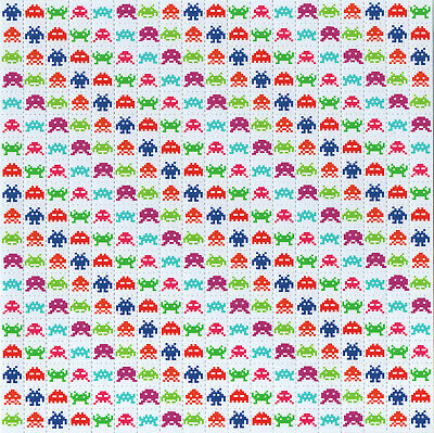 Space Invaders Black Blotter Art With 1Cm Squares