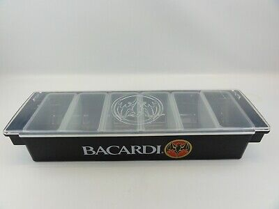 Bacardi Bar Top Garnish Caddy Organizer Condiment Container 6 Plastic Cups Black