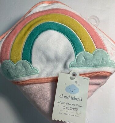 Cloud Island Rainbow/Clouds Infant Hooded Towel Pink New!