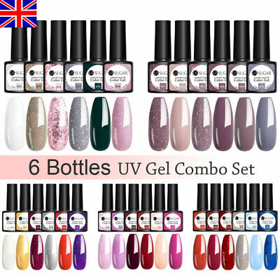 6 Bottles Combo Set UR SUGAR UV Gel Polish Top Base Matte Gel Nail Varnish 7.5ml