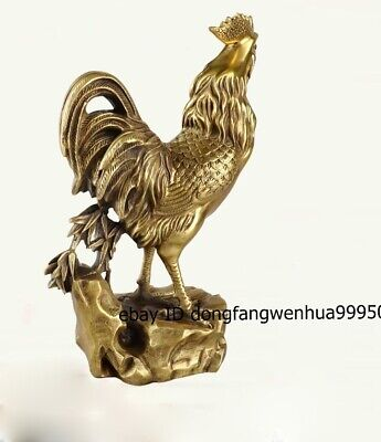 Brass copper Chinese Zodiac Wealth Fengshui Animal Cock Rooster Chicken Statue