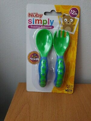 NUBY SIMPLY TODDLER TRAINING- Fork and Spoon - yellow and orange BPA free
