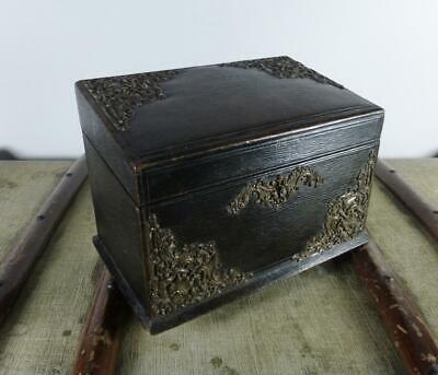 Quality Antique Victorian Moroccan Leather & Wooden Stationary Box c Late 1800s