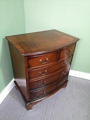 An Antique Reproduction Flame Mahogany Chest of Drawers ~Delivery Available~