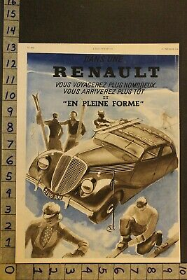 1936 Renault Skiing Sport Athletic Paris France Car Auto Ad Sy13