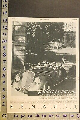 1935Renault Grand Sport Paris France Airdale Terrier Dog Mansion Car Auto Adsy26