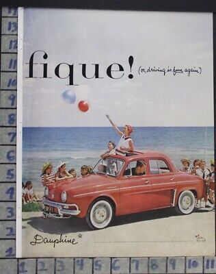 1958 Renault Dauphine French Car Auto Child Ocean Family Vintage Ad  Cu88