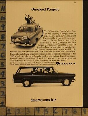 1967 Peugeot Car Auto Motor Marriage Wife Family Husband Wed Vintage Ad  Zb64