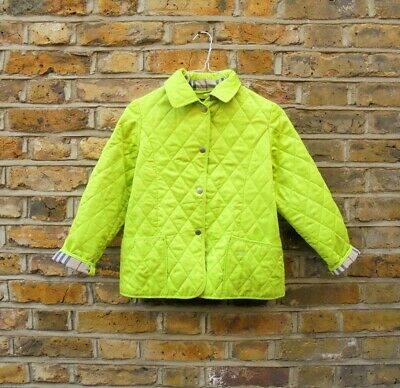 Burberry Childrens Girls Green Quilted Nova Check Trim Jacket Coat 12 Years Old