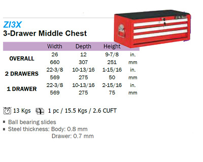 Liquidation - 3 Drawer Middle Chest I3X